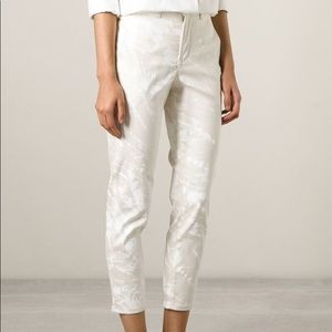 Helmut Lang White Splatter Paint  Cropped Jeans